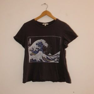 "Urban Outfitters ""Great Wave"" Tee- Size Medium"